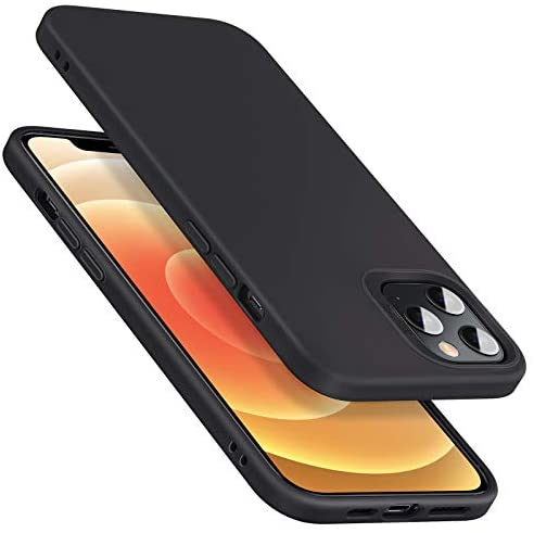"""$10 commission for iPhone 12 Pro Max Case, Liquid Silicone Rubber Case [Comfortable Grip] [Screen & Camera Protection] [Velvety-Soft Lining] [Shock-Absorbing] for iPhone 2020, 6.7"""" – Black"""