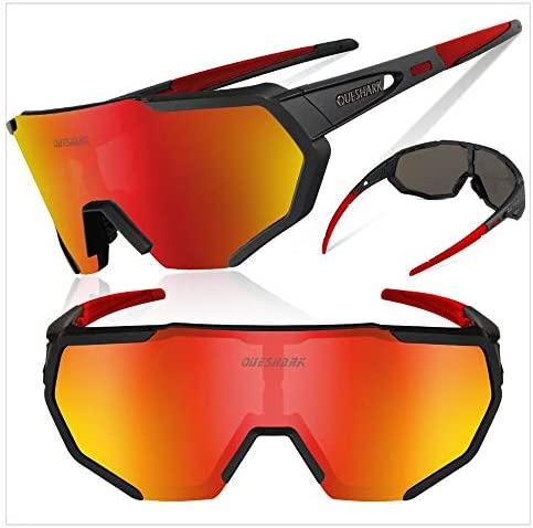 Queshark Polarized Sports Cycling Glasses with 3 Interchangeable Lenses for Men Women Running Driving Fishing Golf Baseball sunGlasses