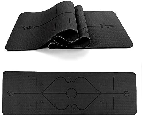 LISHAN Yoga Mat Body Alignment Lines Non Slip 1/4 inch Fitness Exercise Pilates and Floor Exercises with Carrying Strap Eco Friendly Workout