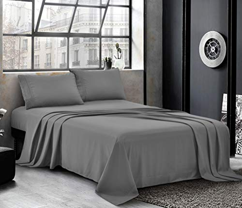 PURE BEDDING Hotel Luxury Bed Sheets - Cal King Sheet Set [4-Piece, Grey] - Sateen Weave, Premium Microfiber - Soft and Breathable - Deep Pocket Fitted Sheet, Flat Sheet, Pillow Cases