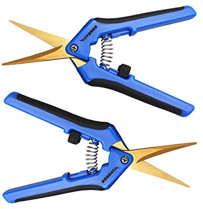 VIVOSUN 2-Pack Gardening Pruning Shear with Titanium Coated Curved Precision Blades