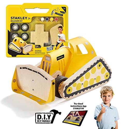 Stanley Jr DIY Bulldozer for Kids - Easy to Assemble Model Truck Kit - Bulldozer Model Kit - Wood Bulldozer Truck Toy Craft - Paint & Brushes Included