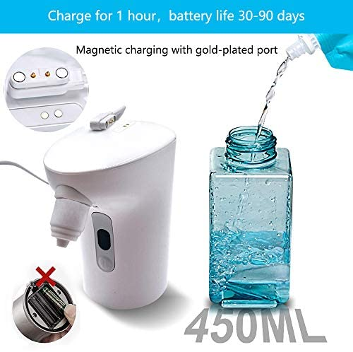 Upgraded Automatic Foaming Soap Dispenser, Anti-Clogging Infrared Sensor Adjustable Touchless Soap Dispenser with 6 Hand Wash Tablets,IPX7 Waterproof, 450ML Larger Capacity, Magnetic Charging