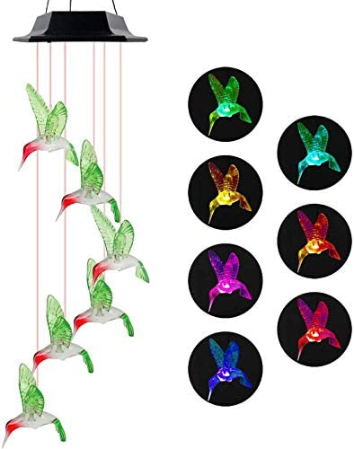 Solar Wind Chimes, Hummingbird Wind Chimes Outdoor,Solar Wind Chimes, Gifts for mom, Birthday Gifts for Women (Hummingbird)