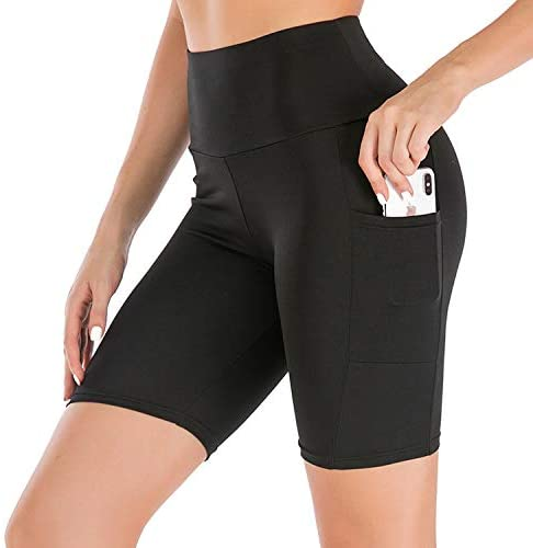 """NEW YOUNG Women's 5"""" High Waist Biker Yoga Running Shorts Workout Compression Exercise Tummy Control Shorts Side Pockets"""