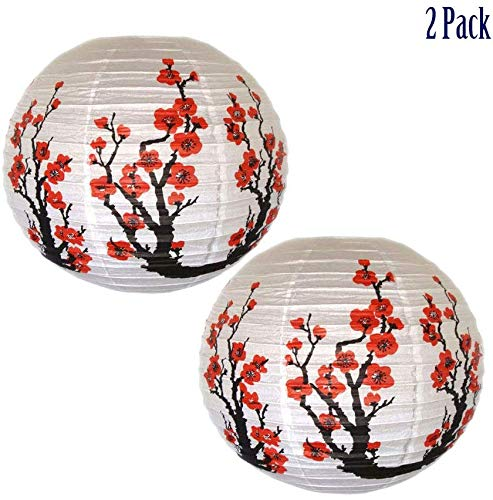 Sunnyhill 2 Pack Paper Lanterns Japanese and Chinese Style Lamp Shade Plum Flower Dia.16 Inch