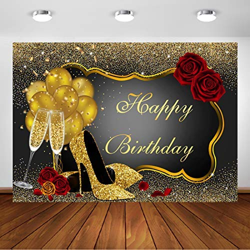 Aperturee Glitter Gold Happy Birthday Backdrop 7x5ft Red Rose Floral Golden Shiny Sequin Balloons Heels Champagne Glass Photography Background for Adult Woman Party Decorations Supplies Banner Props