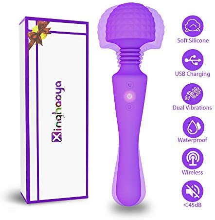 Wand Massager, Body Massager for Women with Whipser Quite/Stress Relief/Waterproof/Handheld/Cordless, Dual Head Vibration 10x10 Modes Massager for Therapy Back Neck Muscle Aches (Purple)