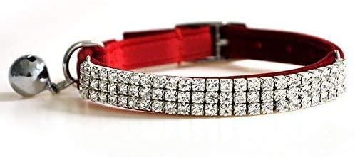 DAIXI Adjustable Cat Collar Soft Velvet Safe Collars Bling Diamante with Bells
