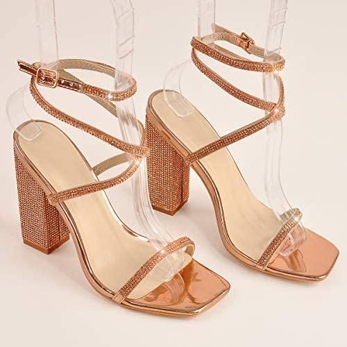 MissHeel Rhinestone Chunky Heel Sandals Ankle Strap