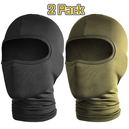 2 Pack Ski Mask Balaclava, Windproof Ski Hood for Winter Sports Skiing, Snowboarding, Motorcycling, Thermal Face Mask (Black and Green)