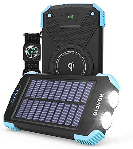 Solar Power Bank, Qi Portable Charger 10,000mAh External Battery Pack Type C Input Port Dual Flashlight, Compass (IPX4 Splashproof, Solar Panel Charging, DC5V/2.1A Input) (Light Blue)