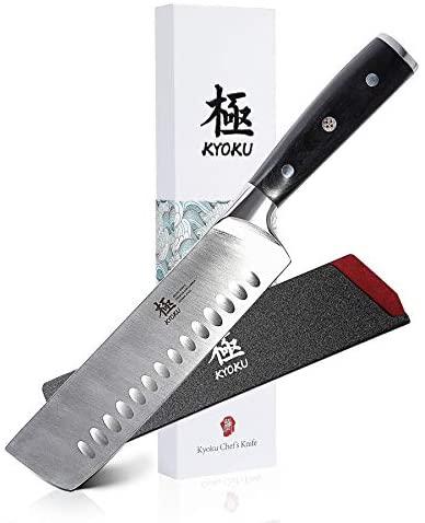 """KYOKU Samurai Series - Nakiri Japanese Vegetable Knife 7"""" - Full Tang - Japanese High Carbon Steel - Pakkawood Handle with Mosaic Pin - with Sheath & Case"""