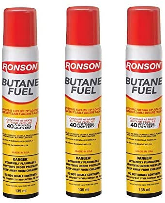 Ronson Lighter Butane Refill 135ML (Pack of 3) with Cleaning Cloths