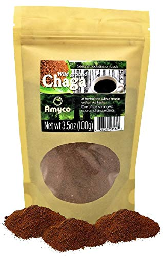 Organic Chaga Mushroom Powder 3.2 Ounce Bag - 100% Natural Hand-Harvested Canadian Forest Chaga Mushrooms Antioxidants, Nutrient Dense Superfood, Healthy Drink, Teas, Coffee, Shakes, Smoothies