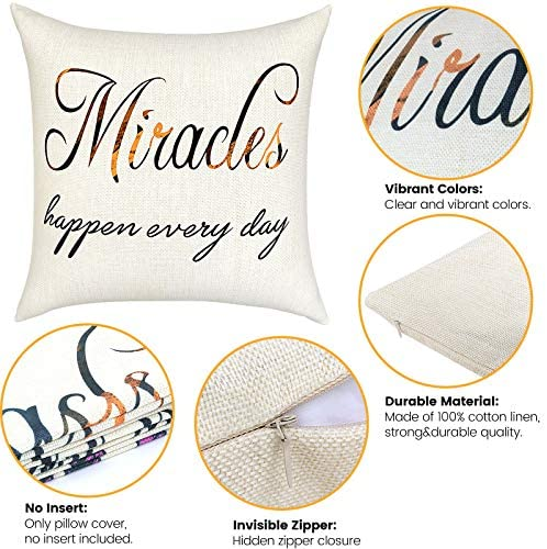 SKCAZA Throw Pillow Covers and Cases Set Thanksgiving Decorative Cotton 18x18 Inch for Decor Housewarming Gifts for New Home Linen Square Outdoor Cushion Cover Sofa Home Pillowcases Pack of 4