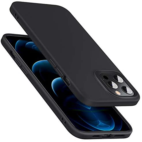 """$10 for commission with iPhone 12 Case/Compatible with iPhone 12 Pro Case, Liquid Silicone Case (2020) [Comfortable Grip] [Screen & Camera Protection] [Shock-Absorbing], 6.1"""" – Black"""