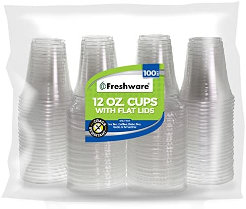 Freshware Plastic Cups with Lids [12 oz, 100-Pack] - Disposable Cold Drink Party Cups, Crystal Clear PET Cups