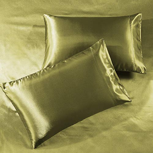 Pure Linen Satin Pillowcase King [2-Pack, Sage] - Hotel Luxury Silky Pillow Cases for Hair and Skin - Extra Soft 1800 Double Brushed Microfiber Pillow Covers