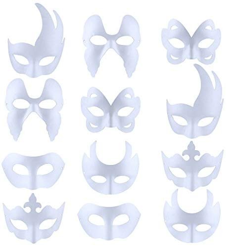 Bageek White Masks, 12PCS DIY White Masks Unpainted Masquerade Masks Halloween Mask Blank Painting DIY Assorted Types Party Mask