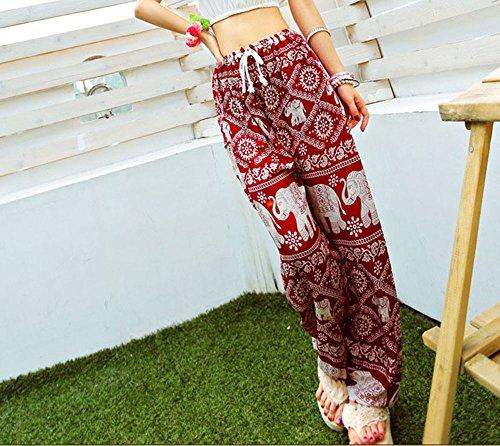 Deviz Queen Women Boho Beach Yoga Pants Drawstring Printed Elephant Palazzo Casual