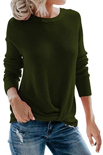 Sovoyontee Women's Long Sleeve Knit Pullover Twist Knot Sweaters Tunic Tops