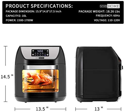VIVOHOME 10.6 Quart 1700W Air Fryer Oven, 7 in 1 Multifunctional Kitchen Digital Cooking Oven, Efficient Heat Circulation, ETL Listed, FDA Approved, Black