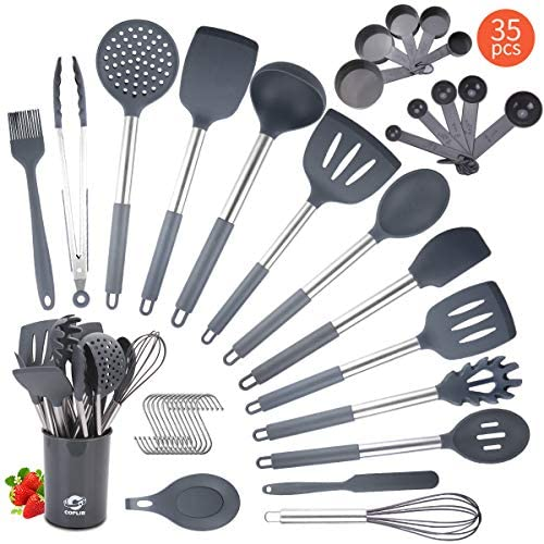 Silicone Cooking Utensils Set, COPLIB Kitchen Utensils 35 Pcs Cooking Utensils Set with holder, Non-stick &Heat-Resistant Cookware with Stainless Steel Handle - Gray