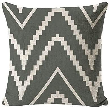 INSHERE Farmhouse 4 Pack Simple Grey and Beige Geometric Wave Throw Pillow Covers Cases for Couch Sofa Bed Home Decor, Square Cotton Linen Cushion Cover 18 X 18 Inches
