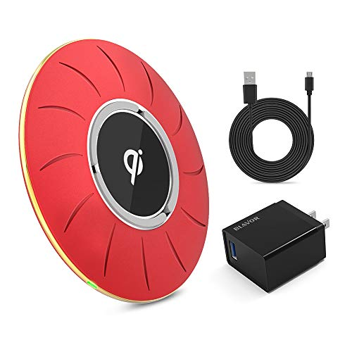 BLAVOR Qi Certified Wireless Charger, Fast Wireless Charging Pad 10W/7.5W/5W Compatible with iPhone X/8/8plus XS/XS Max/XR All Qi-Enabled Devices((QC 3.0 AC Adapter Included+4.92ft Charging Cab) (Red)