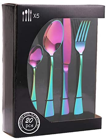 20 Piece - Silverware Flatware Cutlery Set, Service for 5, Included Knife/Fork/Spoon, Colorful Plated, Multicolor Rainbow Tableware Set