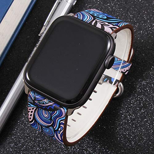 Yimitree Band Compatible with Apple Watch 38MM/40MM/42MM/44MM,Floral Paragraph Leather Replacement Strap Compatible with Apple iWatch Series 5 4/3/2/1 (style3, 42MM-44MM)