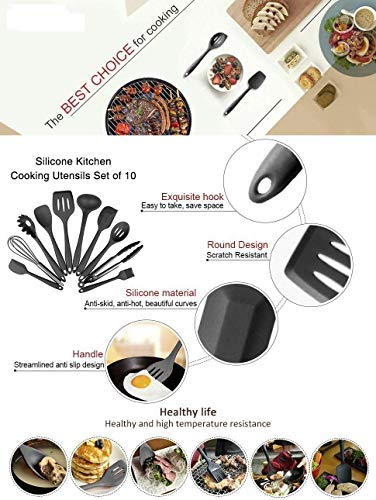 Kitchen Utensils, Silicone Heat-Resistant Non-Stick Kitchen Utensil Set Cooking Tools 10+1 Piece,Turner, Whisk, Spoon,Brush,spatula, Ladle Slotted turner, Tongs, Pasta Fork and Spoon Rest (black)