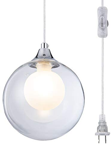 Weesalife Glass Globe Pendant Light Modern Mini Haning Lighting Fixture Plug-in Cord Pendant with On/Off Switch,Chrome Finish, for Kitchen,Island, Farmhouse, Dinging Room, Hallway,Entryway