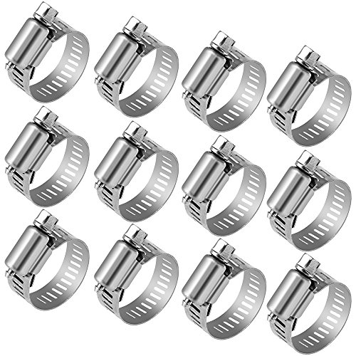 "12 Hose Clamp Stainless Steel Clamps Worm-Gear Hose Clamp, Miniature Power-Seal Worm-Drive Kit, 1/2""-1-1/16""(14-27mm)"