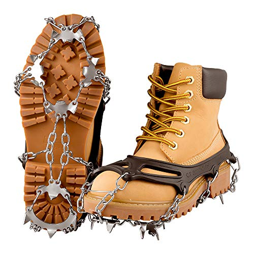 Micro Crampons Stainless Steel Chain Crampons with 18 Spikes ;Winter Walking, Jogging and Hiking on Snow and Ice, Size M