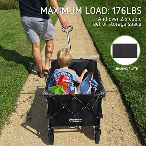 VIVOSUN Heavy Duty Collapsible Folding Wagon Utility Outdoor Camping Garden Cart with Universal Wheels & Adjustable Handle, Black