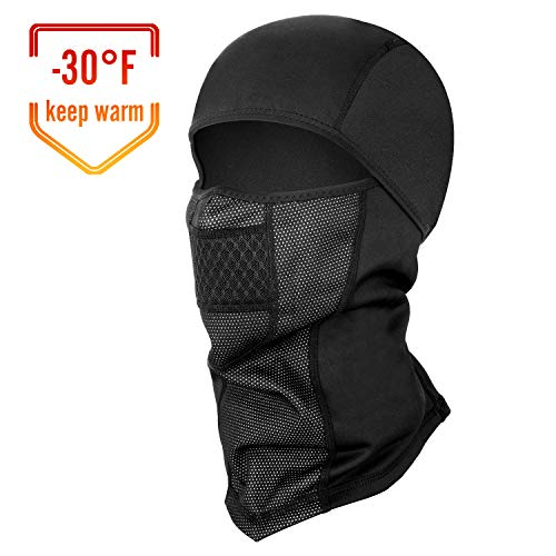 SEVENS Balaclava Ski Mask, Thermal Full Face Mask for Winter Sports Skiing, Snowboarding, Motorcycling, Windproof Ski Hood (Black)