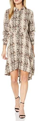 Woman Long Sleeve Shirt Dress - Snakeskin Print Button Down Casual Blouse Midi Tshirt Dresses for Women