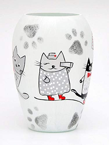 Bright Stroke Small Round Hand Painted Decorative Glass Vase with Cat Binocular Design 7.9 in