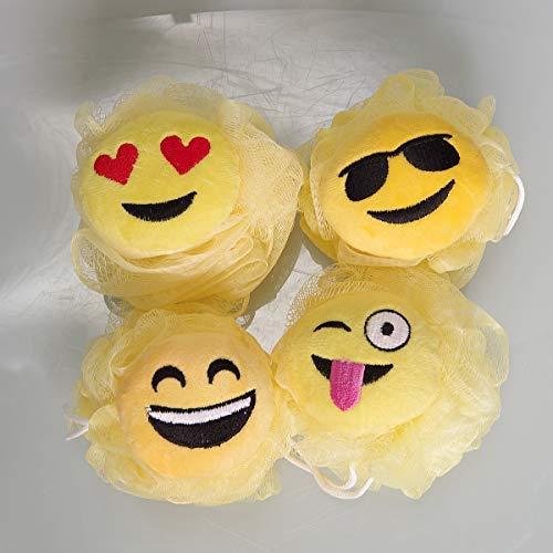 Sunormi 4-Pack Emoji Emoticon Design Shower Sponges Bath Loofah Sponge Mesh Brush Exfoliating Body Scrubber for Kids Boys Girls
