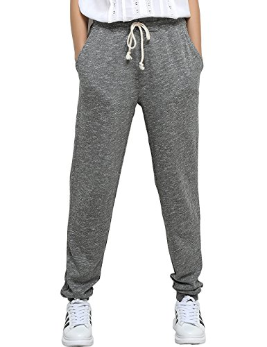 T-INSIDE Women's Sweatpants with Pockets - Yoga Leisure Gray & Black Cotton Joggers Loose Active Pants for Sports