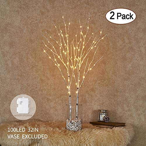 Lighted Artificial Twig Birch Tree Branch with Fairy Lights 32IN 100 LED Battery Operated Lighted White Willow Branch for Christmas Home Decoration Indoor Outdoor Use 2 Pack (Vase Excluded)