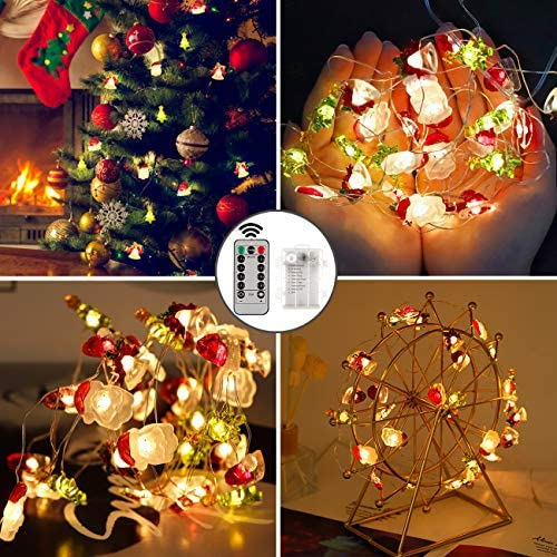IFLOVE Christmas String Lights 10ft Santa Head Christmas Hat Bell Tree Decorative Lights Indoor Outdoor Lights with Dimmable Remote Control Timer for Thanksgiving Halloween Garden (Christmas)