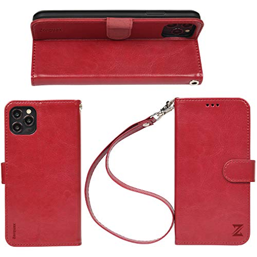50% off iPhone11 ProMAX WineRed Leather Wallet Case Detachable Strap HandsFree Stand Case-On Wireless Charging Zorquax Premium PU Leather Antislip Flip Case 5 Storage Slots Magnetic Clasp RFID Protection
