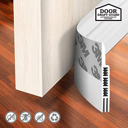 """Holikme Door Draft Stopper Under Door Draft Blocker Insulator Door Sweep Weather Stripping Noise Stopper Strong Adhesive Door Molding & Trim White 39"""" Length"""