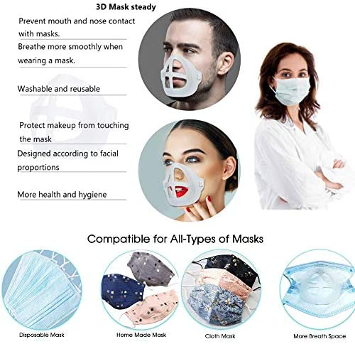 Abozoy 3D Mask Bracket Silicone Face Mask Inner Support Frame,Washable Reusable Mask Frame More Space for Comfortable Breathing Help Breathe Smoothly(5 Pack)