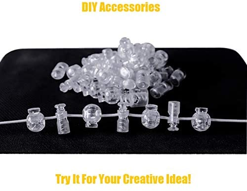 Plastic Cord Locks End Spring Cord Stops Toggles for Drawstrings 60 PCS Clear Drawstring Cord Stopper Lace Locks Spring Fastener for Elastic Paracord Clips Shoelaces Bags Clothing Luggage Backpack…