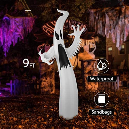 VIVOHOME 9ft Height Color Changing Halloween Inflatable White Ghost with Colorful Led Lights Blow up Outdoor Lawn Yard Decoration