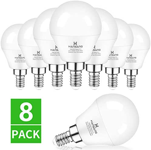 E12 LED Bulb 5000K Daylight 8 Pack Ceiling Fan Light Bulbs,Hansang A15 Candelabra LED Bulbs for Chandelier,6W 60W Incandescent Equivalent,600LM,120V,Non-dimmable